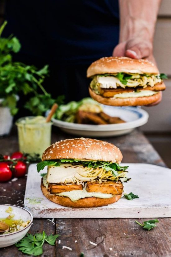 Eat More Fermented Foods: Grilled Vegan Caesar Salad Tofu Burger from My Berry Forest   The Health Sessions