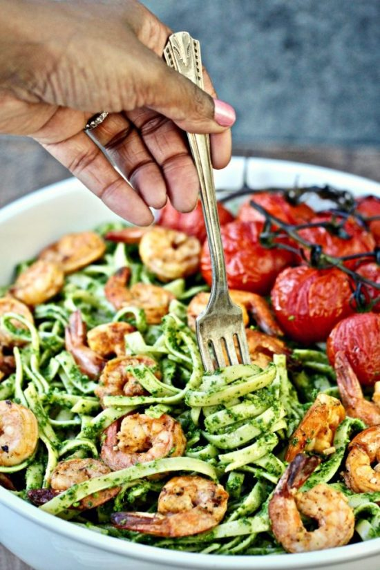 Eat More Leafy Greens: Fettuccini with Collard Greens Pesto and Shrimp from Feasting at Home | The Health Sessions