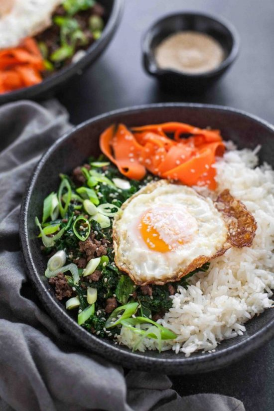 Eat More Leafy Greens: Sesame Kale & Beef Rice Bowls with Fried Eggs from A Calculated Whisk | The Health Sessions