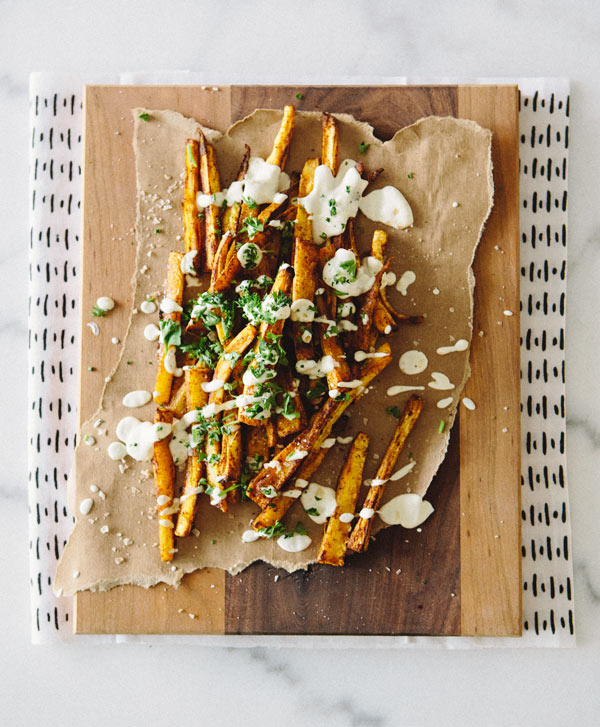 Healthy Burgers & Fries: Paprika Parsnip Fries with Lemon Cashew Cream Sauce from A House In The Hills | The Health Sessions