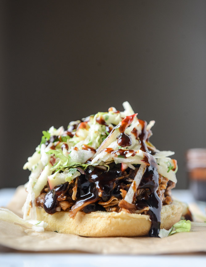 Healthy Burgers & Fries: Saucy chicken sandwiches with pomegranate bbq sauce and crunchy apple slaw from How Sweet It Is | The Health Sessions