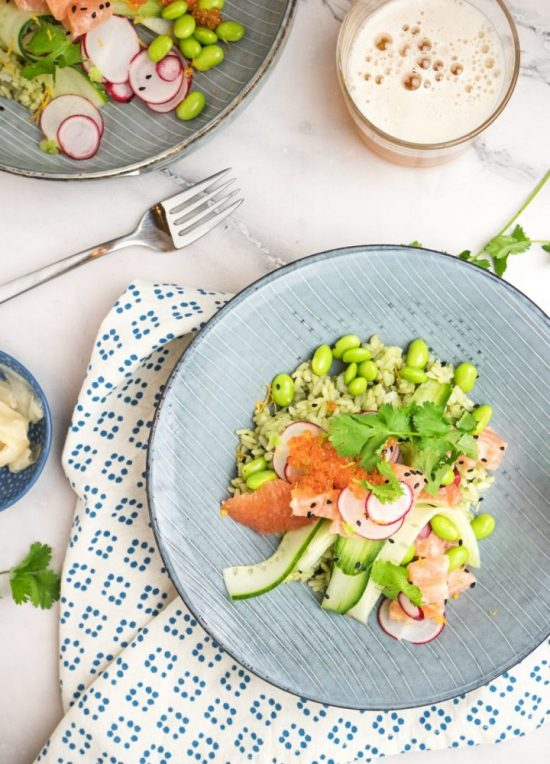 Popular Superfoods: Matcha Salmon Poke Bowl from Fifth Floor Kitchen | The Health Sessions