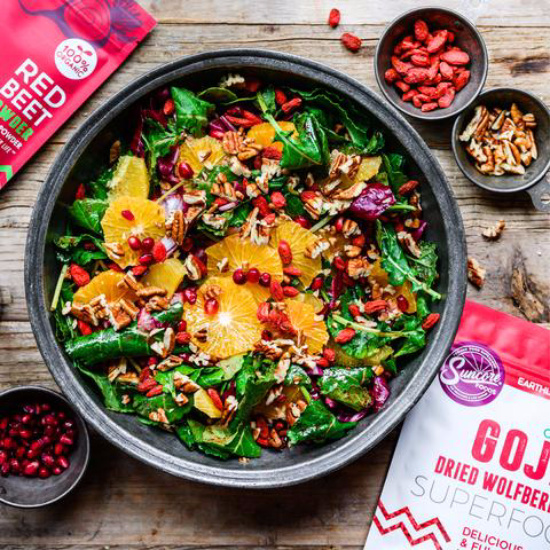 Popular Superfoods: Rainbow Goji Berry Red Beet Salad from Suncore Foods | The Health Sessions