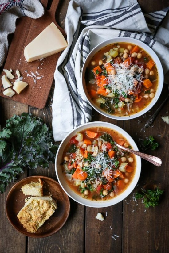 9 Meal-Worthy Soups: Rustic Minestrone Soup with Rice and Kale from The Roasted Root | The Health Sessions