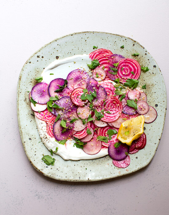 Savory Yogurt: Beet & Radish Carpaccio with Preserved Lemon Coconut Yogurt from What's Cooking Good-Looking | The Health Sessions