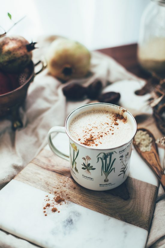 10 Health-Boosting Hot Drinks: Date-Sweetened Vegan Chai Latte with Tahini from Will Frolic for Food | The Health Sessions