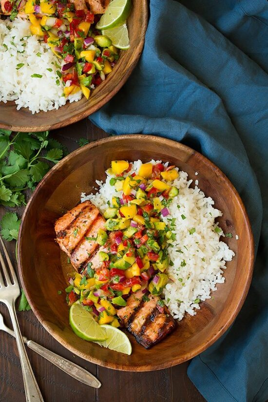 Healthy Stone Fruit Recipes: Grilled Salmon with Mango Salsa from Cooking Classy | The Health Sessions