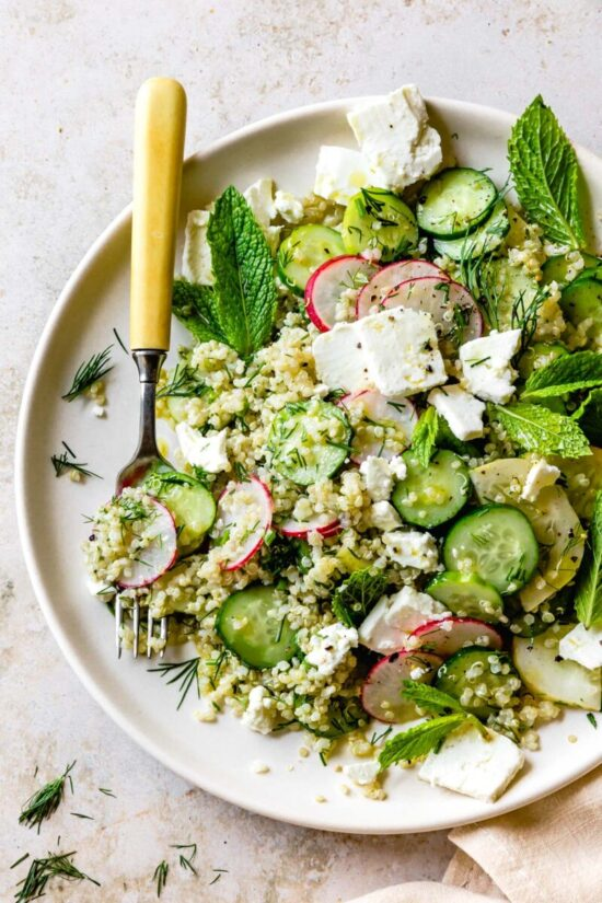 Summer Salads: Quinoa Cucumber Salad with Feta, Dill & Mint from The Bojon Gourmet   The Health Sessions