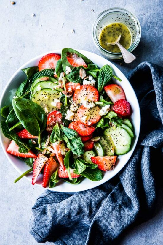 Summer Salads: Strawberry Spinach Salad with Poppy Seed Dressing from Savory Nothings   The Health Sessions