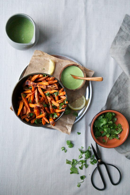 Healthy Burgers & Fries: Sweet potato fries herbed tahini sauce from The Green Life | The Health Sessions