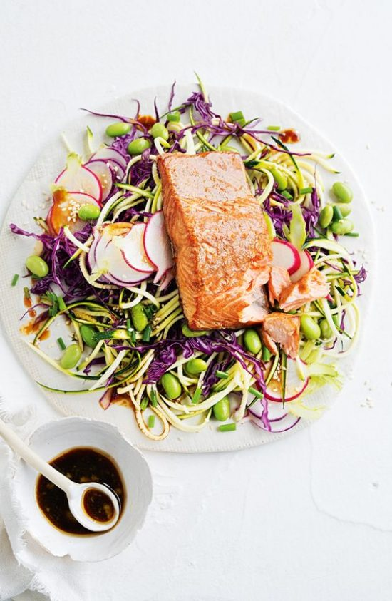 Tea Recipes: Tea-Smoked Salmon with Zucchini Salad from Taste.com.au | The Health Sessions