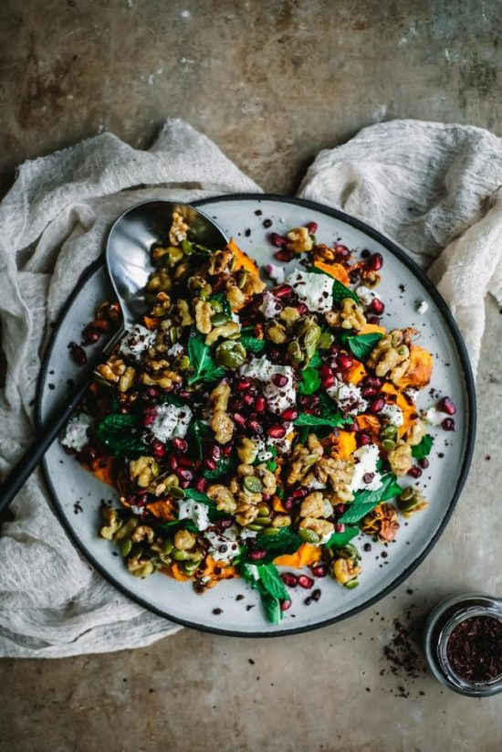 Warm Winter Salads: Pumpkin Salad with Goat's Cheese, Pomegranate and Honeyed Walnuts from Melanie Lionello | The Health Sessions