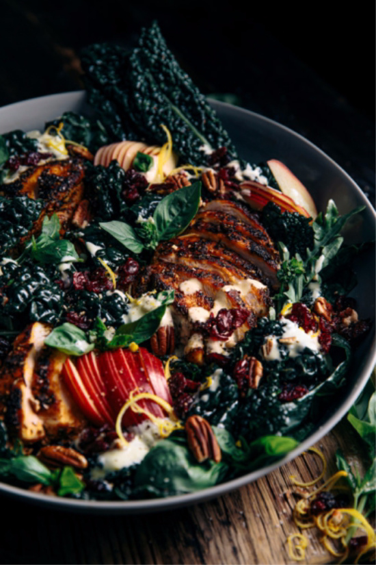 Warm Winter Salads: Kale, Apple and Cranberries Salad with Smokey Chicken from Gather and Feast | The Health Sessions