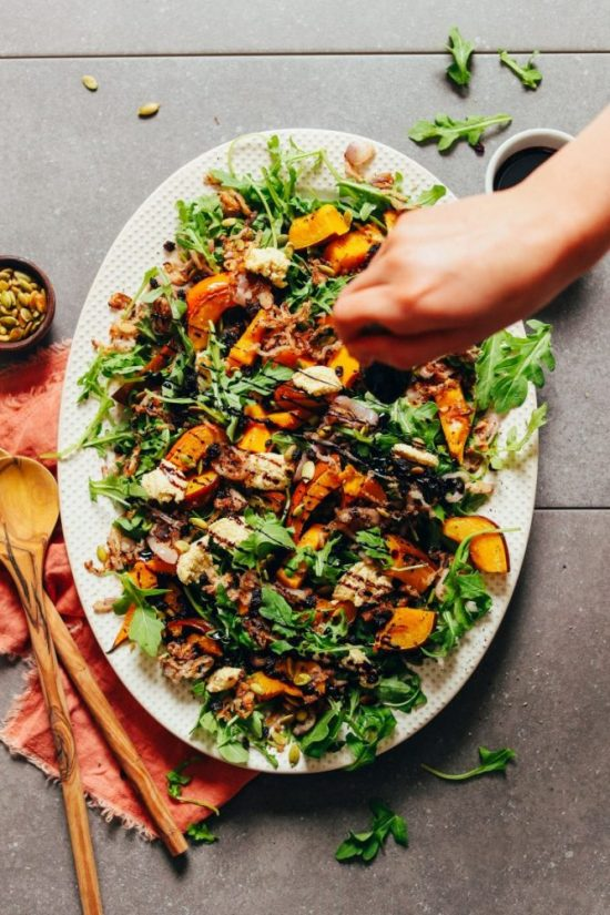 Warm Winter Salads: Roasted Squash Arugula Salad from Minimalist Baker | The Health Sessions